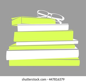 stack of books and glasses vector silhouette