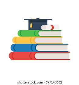 Stack of books with graduation cap and diploma roll on the top. Education concept background. Back to school. Vector illustration in flat style isolated on white background