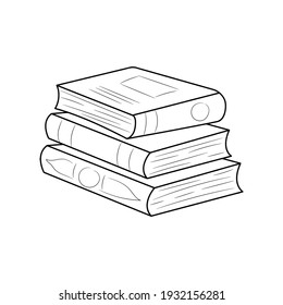 Stack of books hand drawn vector illustration, simple educational object Line Icon