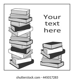 Stack of books hand drawn vector. Big collection of books, sketch objects. Doodle illustration library
