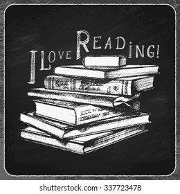 """Stack of Books with """"I Love Reading"""" Inscription. Vector Hand Drawn Illustration."""