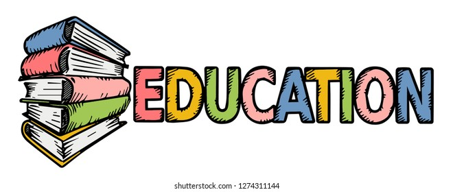 Stack of books and the inscription Education in color, vector illustration.