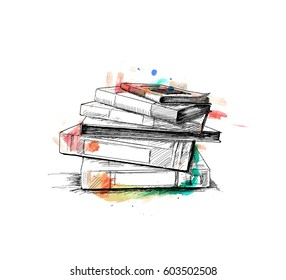 Stack of books isolated on white, Hand Drawn Sketch Vector illustration.