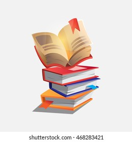 stack of books - the key to knowledge, isolated on white background on the topic of teaching back to school
