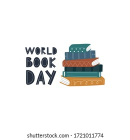 Stack of books with lettering flat vector illustration. Hardback books with colorful covers. Design for holidays, literacy, library, reading, education, teaching, learning concept isolated on white.