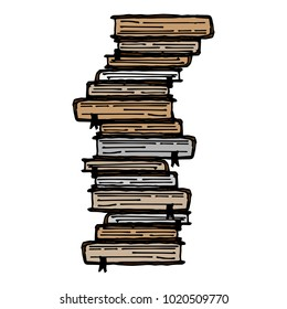 Stack of books. Many different books. Vector books with bookmarks and textbooks. Hand drawn.