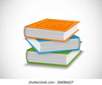 Stack of Books on white background. Vector