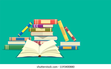 Stack of books with open book icon. Web site page and mobile app design. Vector illustration in flat design
