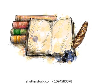 Stack of books, open book and quill pen