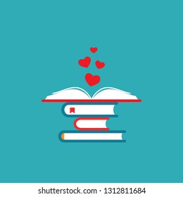 Stack of books with open book and red hearts. Isolated on blue background. bibliophile flat icon. Vector illustration. Love reading logo. Knowledge logo. Education pictogram. Study and learn symbol