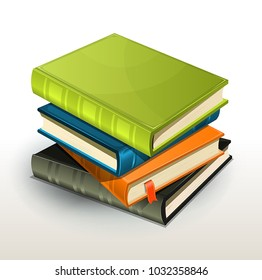 Stack Of Books And Pics Albums/ Vector illustration of a pile of elegant design photographs or pictures albums and books with page bookmark