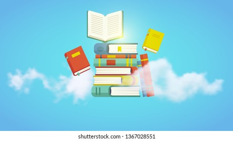 Stack of books with realistic clouds on a sky blue background. Vector illustration, eps 10 file.