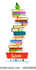 Stack of books in a red cart. Back to school. Cartoon flat style illustration.