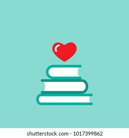 Stack of books with  red heart flying out. Isolated on blue background. bibliophile flat icon. Vector illustration. Love reading logo. Romantic book pictogram.
