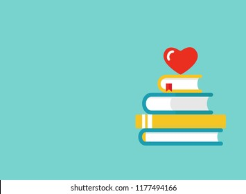 Stack of books with red heart on blue background. Vector horizontal background illustration. Love reading logo. Knowledge logo. Education pictogram. Study and learn symbol