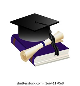 A stack of books, a sheet of paper and a square academic cap  isolated on white background. Lifelong constant learning. Stock vector illustration.