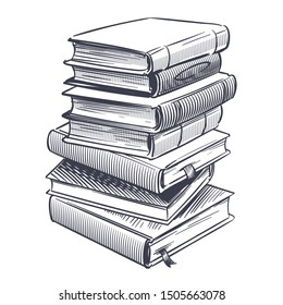 Stack of books sketch. Drawings engrave pile of old vintage dictionary and study research book vector doodle education stacked library literature illustration