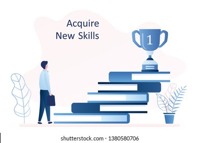 Stack of books and winner cup on top, businessman with bag, acquire new skills and education concept. trendy style vector illustration.