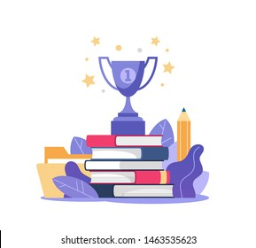 Stack of books and winner cup on top. Education, online courses and business, distance education, online books and study guides, exam preparation, home schooling, vector illustration.
