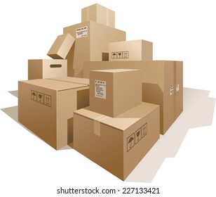 Stack of boxes isolated on white. Eps8. CMYK. Organized by layers. Global colors. Gradients used.