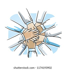 Stack of business hands, concept for teamwork, collaboration. Hand drawn cartoon sketch vector illustration, whiteboard marker style coloring.
