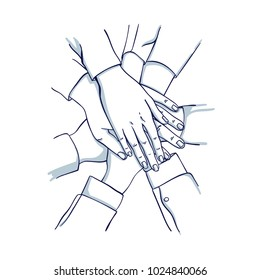 Stack of business hands. Team together. Hand drawn doodle cartoon vector illustration.