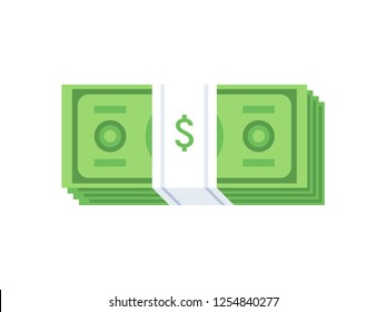 Stack of cash dollar bills. Paper money icon. Flat design. Vector illustration