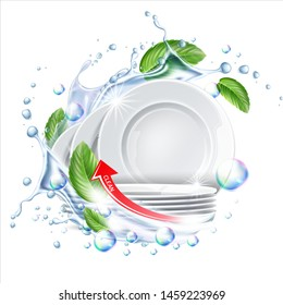Stack of clean plates in water splash with green leaves for dishwashing detergent ad. Vector restaurant dishes mockup. Realistic dishware in liquid explosion, stacked kitchen tableware.
