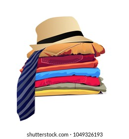 Stack of clothing isolated on white background. Vector illustration
