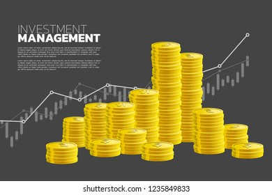 stack of coin and good business chart background. Concept of  success investment and growth in  business