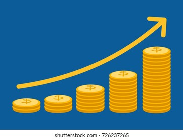 Stack of coins and arrow are growth up, Wealth financial concept. flat design vector illustration
