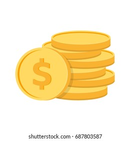 Stack of coins with coin in front of it. Vector illustration.