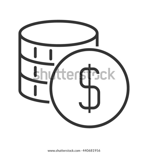 Stack of coins. Line style icon