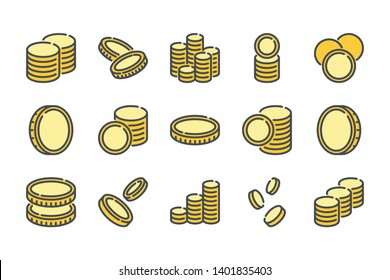 Stack of coins related color line icon set. Coin colorful linear icons. Money and currency flat color outline vector sign collection.