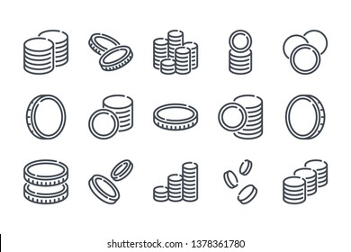 Stack of coins related line icon set. Coin linear icons. Money and currency outline vector sign collection.