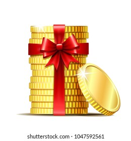 Stack of coins wrapped with red ribbon and gift bow. Concept of pecuniary profit, finance success or presents. Vector illustration isolated on white backgr