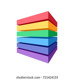 Stack of colored blocks that makes a cube. Abstract geometric element for design