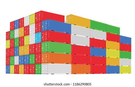 Stack of colorful cargo containers with perspective view. Different colors. Vector illustration.