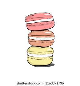 Stack of colorful macaron, macaroon cakes, sketch style vector illustration isolated on white background. Stack, pile of colorful almond macaron, macaroon biscuits, sweet and beautiful dessert
