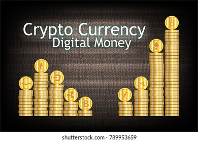 Stack of cryptocurrency gold coin. Such as Bitcoin,Ethereum,Monero,Zcash,Bytecoin,Ripple,Dash,Litecoin,GnosisDigital money business concept. Vector illustration design. EPS10