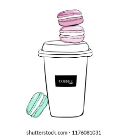 Stack of cute colorful Macaroons and with coffee cup. Fashion illustration. Hand drawn watercolor pile of pink macaron cakes, french pastry dessert. vector illustration