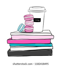 Stack of cute colorful Macaroons and with coffee cup on fashion magazines books. Hand drawn beautiful girls concept with stack of books, fashion magazines, macaron cakes. Fashion vector illustration