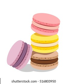 Stack of different french cookies macaroons or macarons with drop shadow isolated on white background
