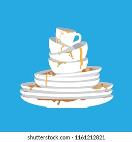 Stack of dirty dishes on blue background. White kitchen household cutlery before wash. Detergent label design template. Vector illustration.