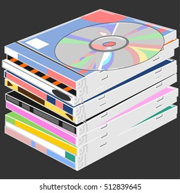 The stack of disks / The CD is on a pile of ten boxes / Twelve layers