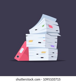 Stack of documents, files and folders. Vector cartoon flat illustration of office paper pile isolated on background.