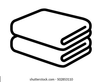 Stack of folded bath towels or napkins line art vector icon for apps and websites