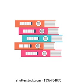 Stack folders. Colorful office documents. Binders paper. Carton boxes. archival work. Vector illustration flat design. Isolated on white background.
