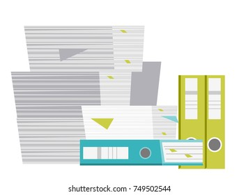 Stack of folders, papers, business documents vector cartoon illustration isolated on white background.