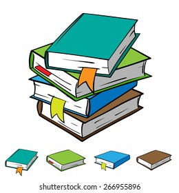 A stack of four books with bookmarks, and each book individually. Vector graphics. All books in the stack is located on different layers that make it easy to manipulate.